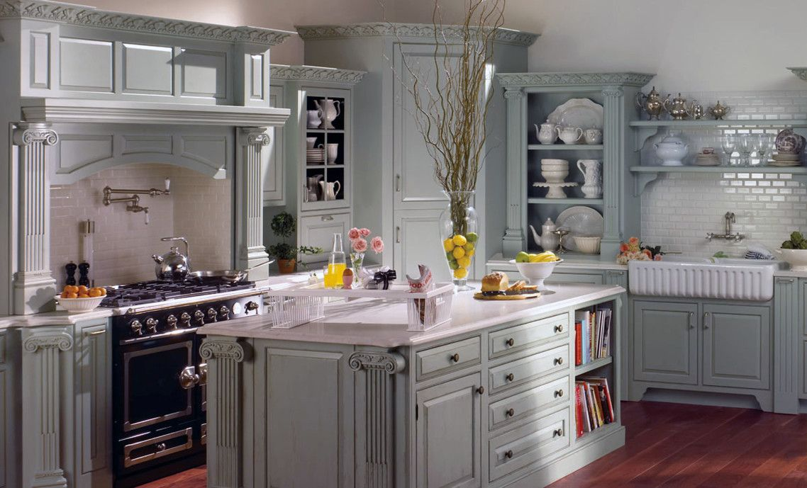 Cool French Provincial Kitchen Design Ideas With Grey Color
