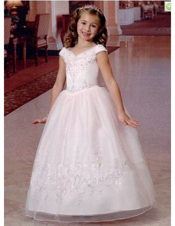 Princess Ball Gown V-Neck Ankle Length First Communion Dresses/ Pretty  Organza Flower Girl