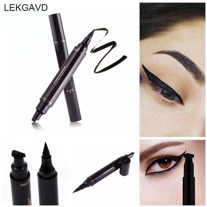 Sexy Double Head Black Eyeliner Wing Shape Seal Waterproof Liquid Eyeliner Pencil Cat Eye Cosmetic Tool Quick Makeup Beauty Essentials