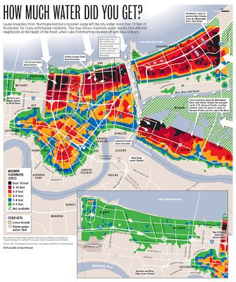 New Orleans Katrina Flood Map Map of Katrina Flood Water Depth and Levee Breaches | New Orleans