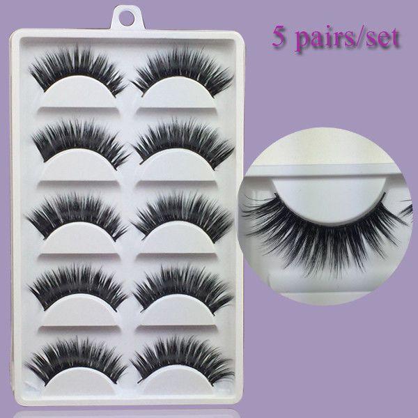 3515b3bd0e1 100% Real Mink 3D False Eyelashes 5Pairs/Lot Handmade Cross Long Lashes L6