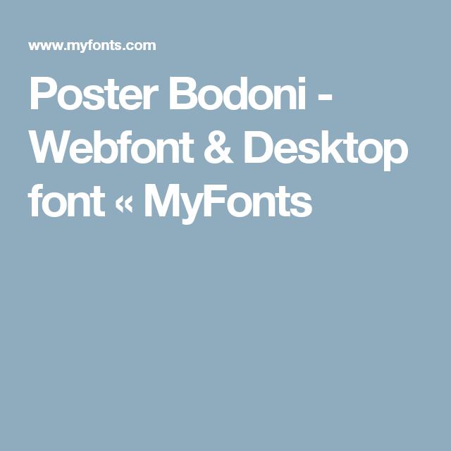 Poster Bodoni - Webfont & Desktop font « MyFonts | Fonts | Fonts