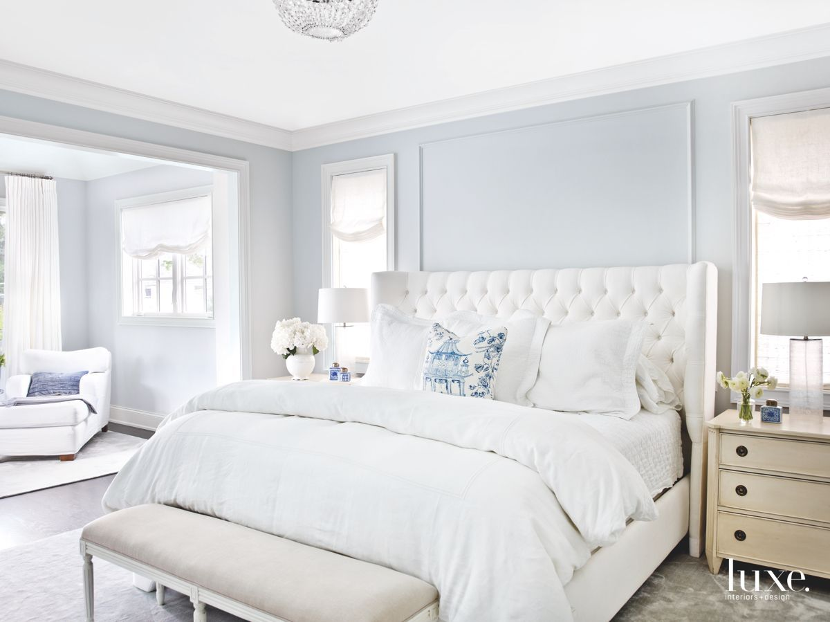 This Perfectly Proportioned Chicago Home Stops People In Their Tracks Luxe Interiors Design Blue Bedroom Walls Blue Master Bedroom Light Blue Rooms