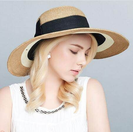 ccfb2940 Color block straw hat with bow for women wide brim sun hats UV protection