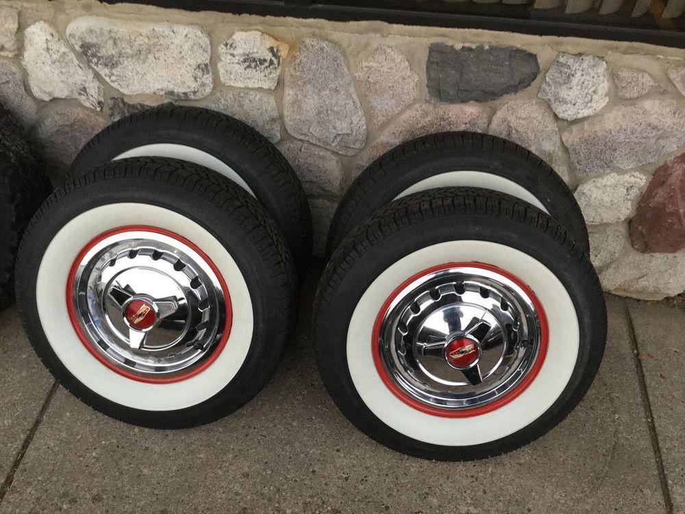 57 Chevy Bel Air Car Steel Wheels Hub Caps Coker White