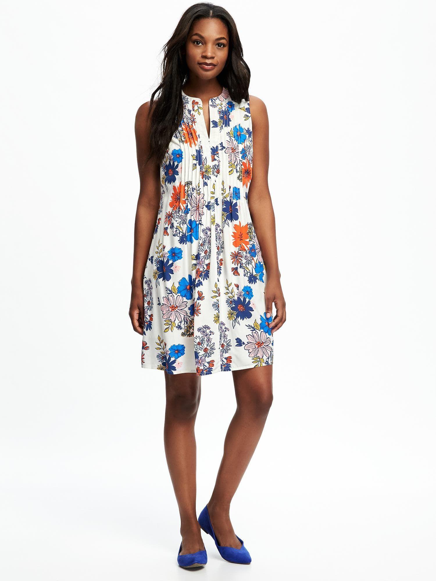 c135da6fdf printed pintuck swing dress