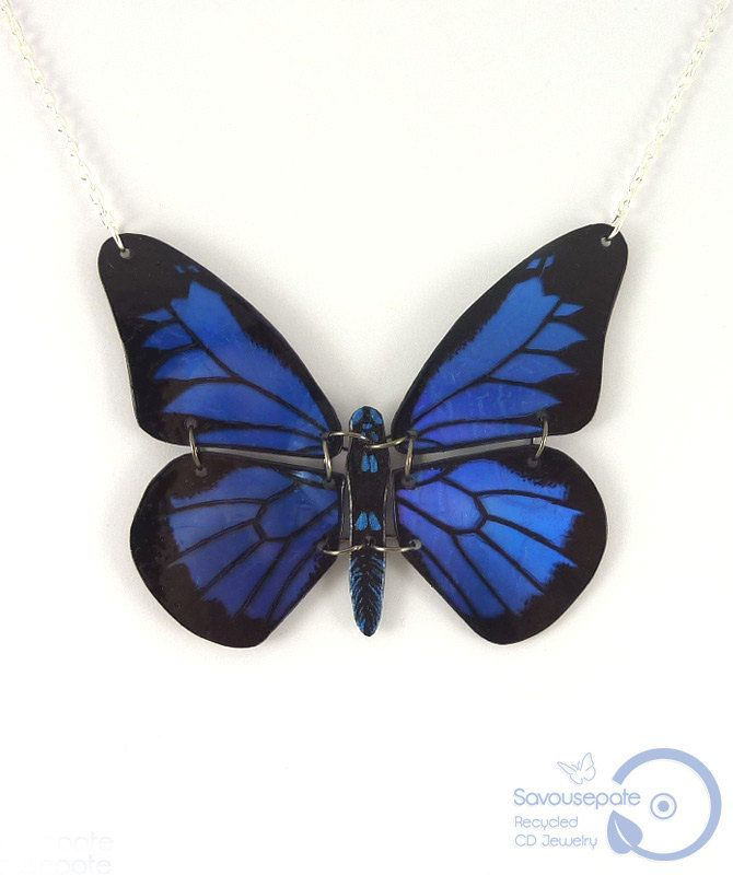 Iridescent royal blue and black Papilio Ulysses butterfly necklace, dark blue and black butterfly necklace, plastic butterfly necklace #recycledcd