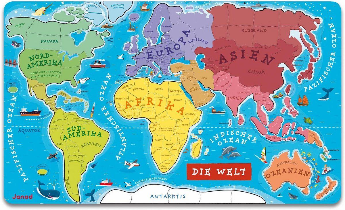 Janod Puzzle Die Welt 92 Puzzleteile Ab 7 Jahren Online Kaufen