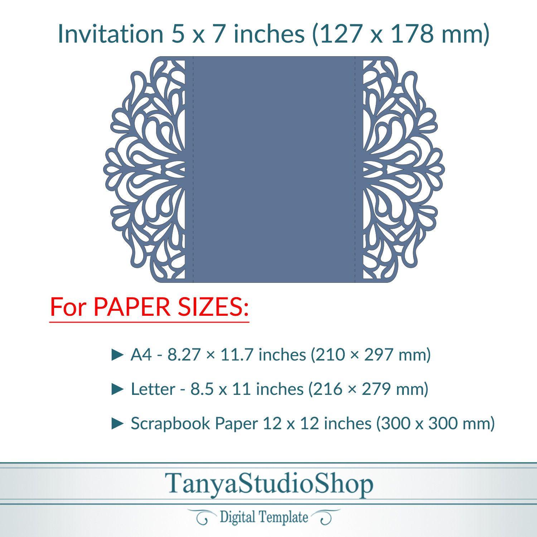 Gate-fold 5x7'' invitation template SVG ai CRD | Etsy | Cricut invitations, Invitation  template, Invitations