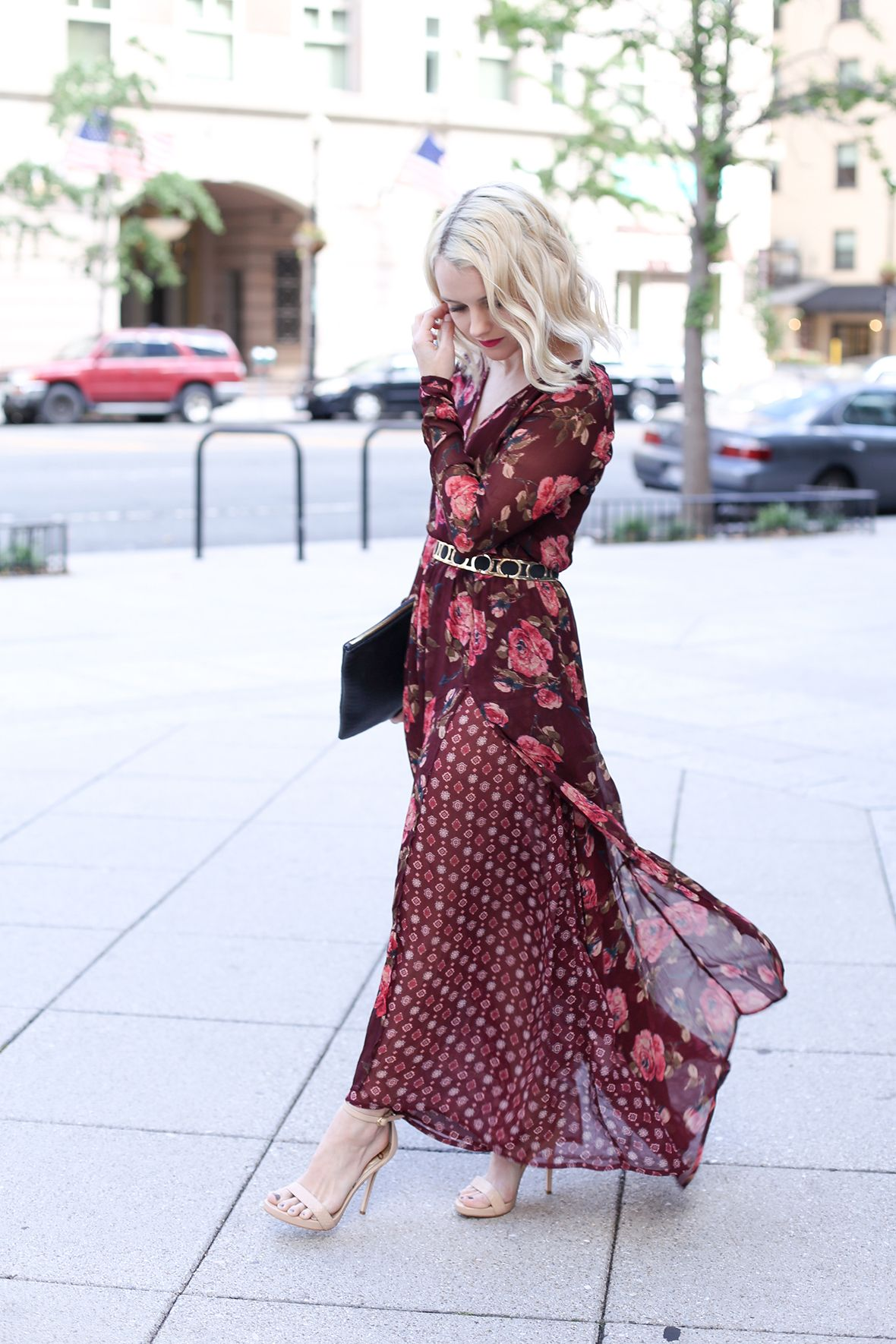 This beautiful maxi dress in deep reds and pinks is the perfect