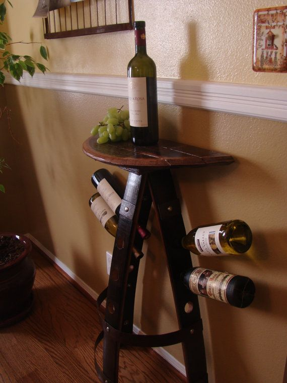 Wine Rack Appetizer Table Up Cycled From Aged Oak Wine Barrel Wine