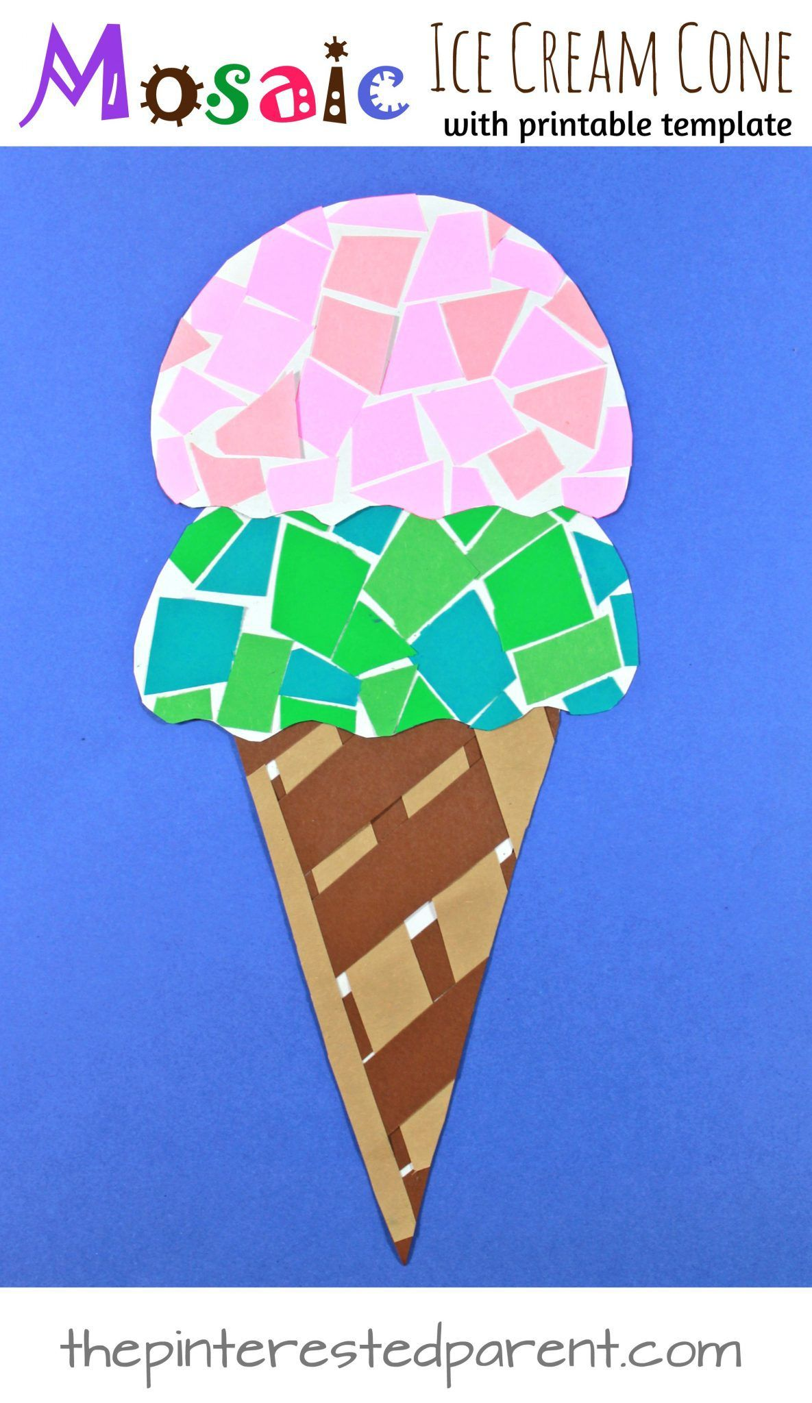 Paper mosaic ice cream cone craft with free printable for Ice cream cone paper craft