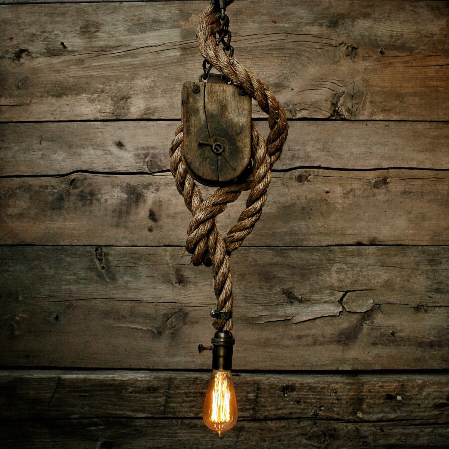 Pulley light barn wood pendant light manila rope light for Log cabin chandelier