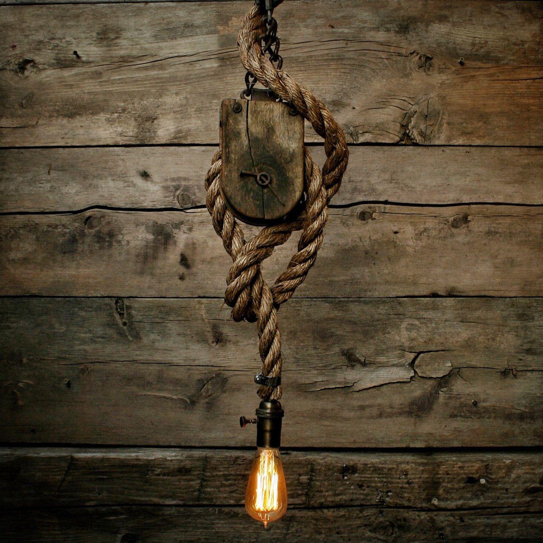 Rustic Lighting Rope Pendant Light Rope Light Wood Beam: Barn Wood Pendant Light -Manila Rope Light