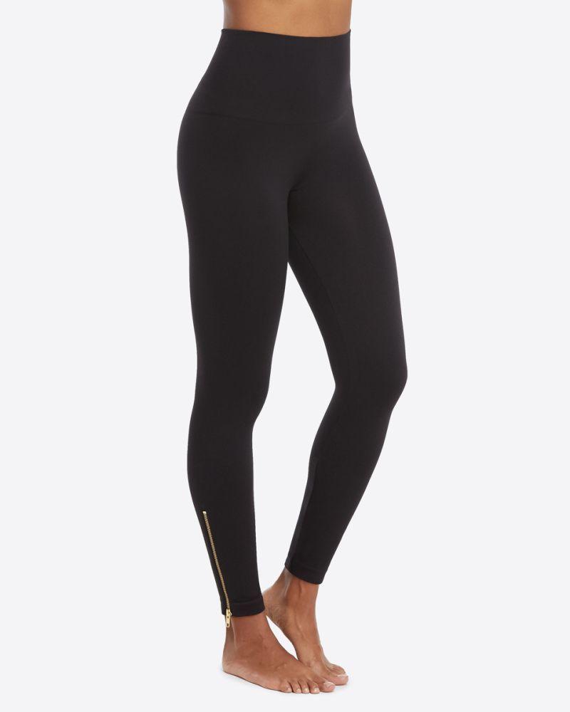 Spanx Seamless Side Zip Leggings X-Large Very Black