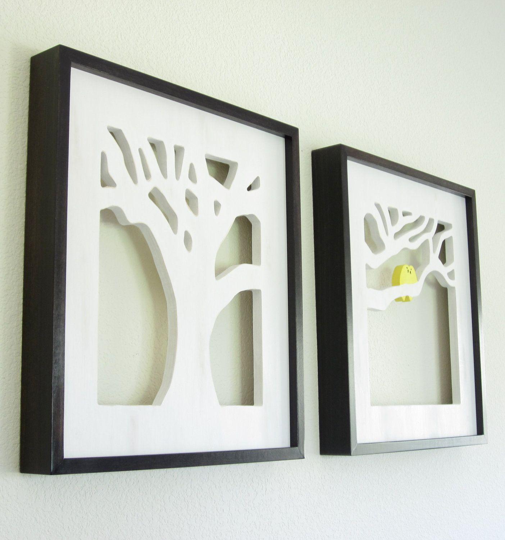 Yellow Bird Art, Rustic Wall Art, Framed Art Set. $300.00, via Etsy ...