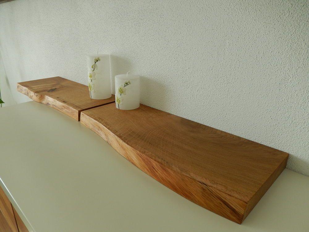 Details zu 2x Wandboard Eiche Wild Massiv Holz Board Regal ...