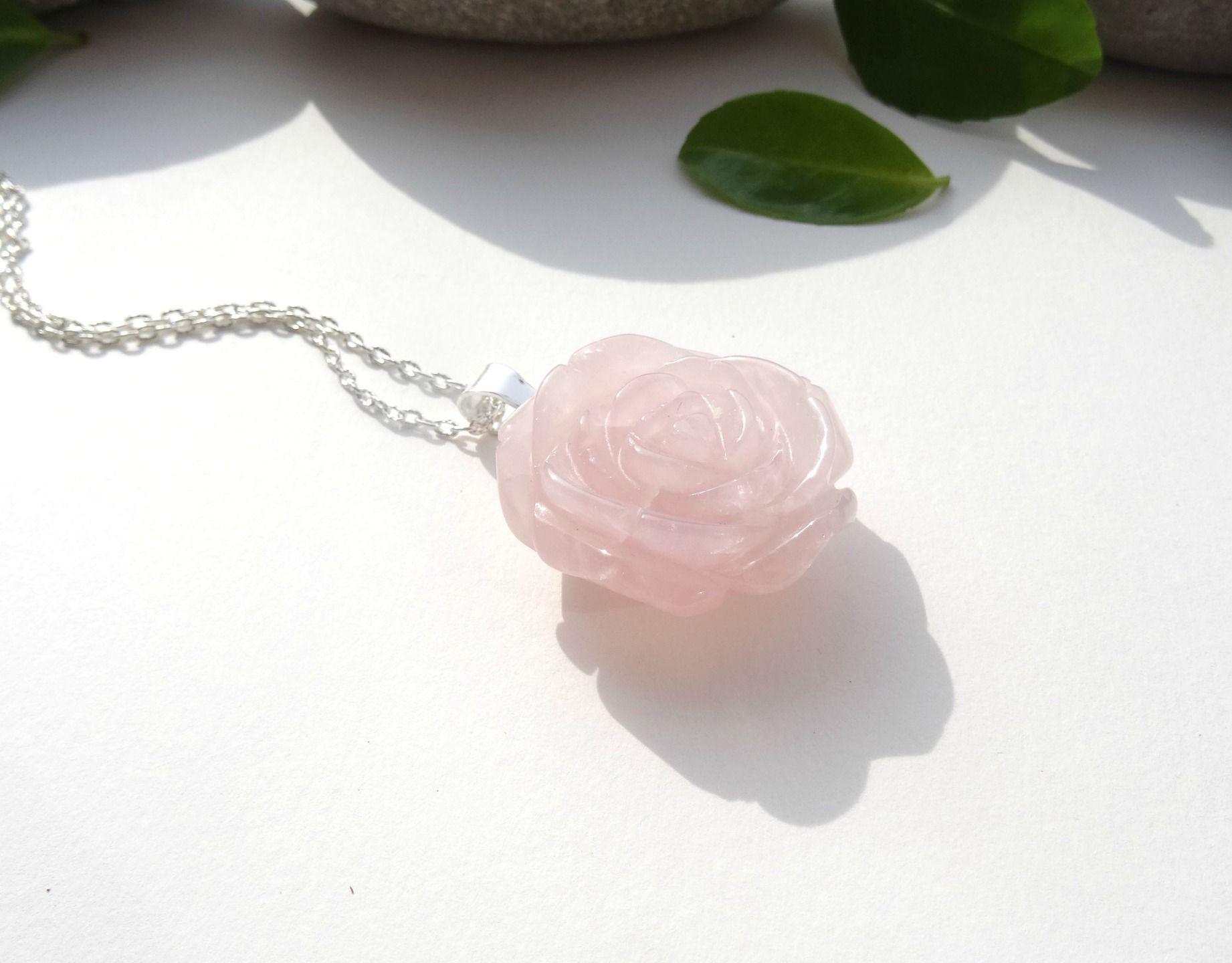 Plaqué Argent Naturel Quartz Rose Cristal Gemme Coeur Forme Pendentif Bijoux