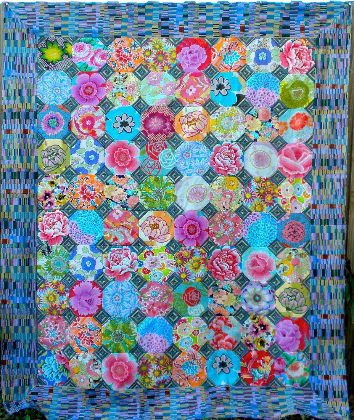 Pin By Quilt Inspiration On Kaffe Fassett Quilts Snowball Quilts Kaffe Fassett Quilts Octagon Quilt