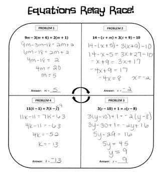 Multi Step Equations Relay Race Activity Multi Step Equations Equations Maths Activities Middle School