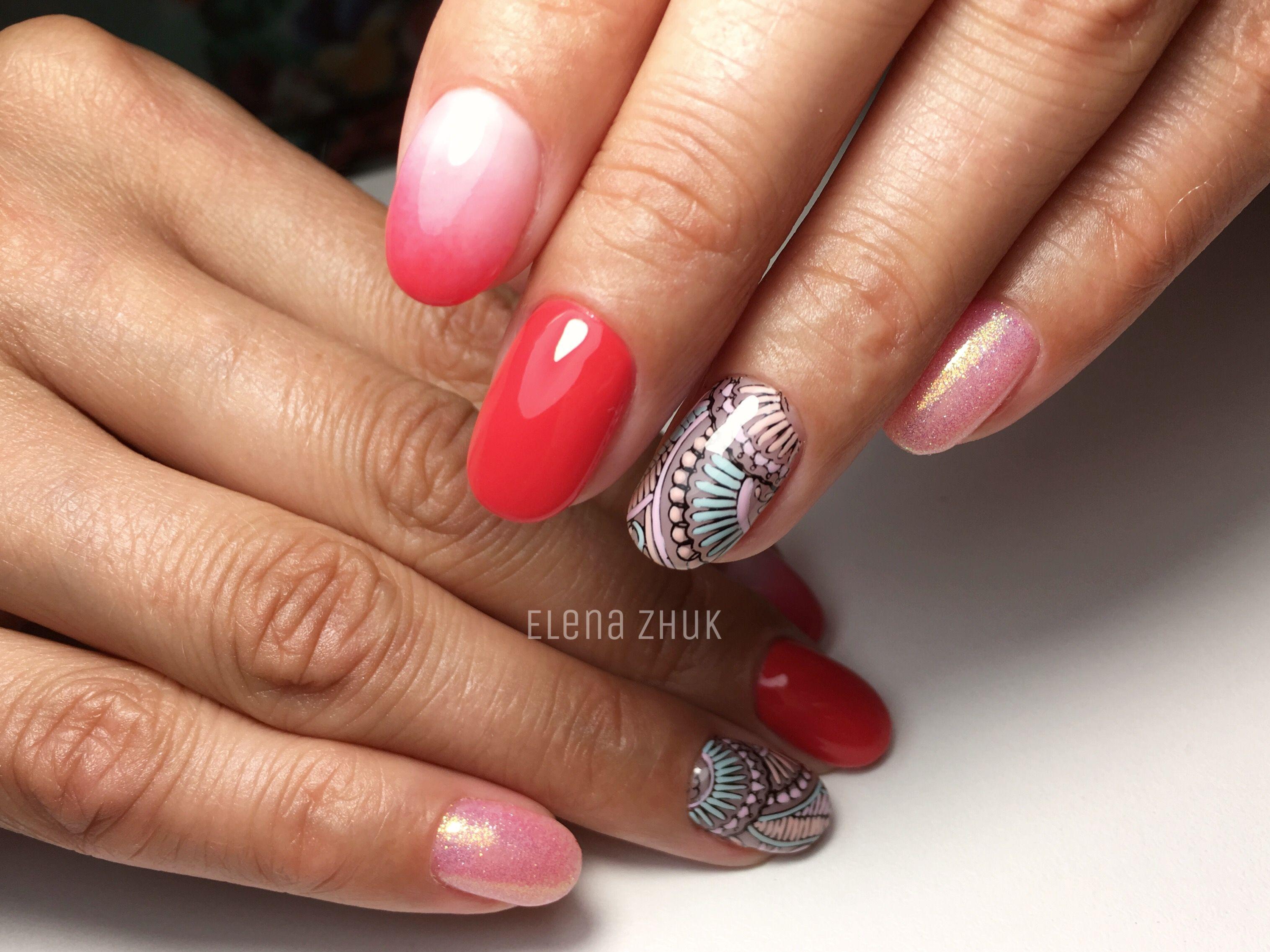 Градиент омбре стемпинг ручная роспись ногтей блестки дизайн ...