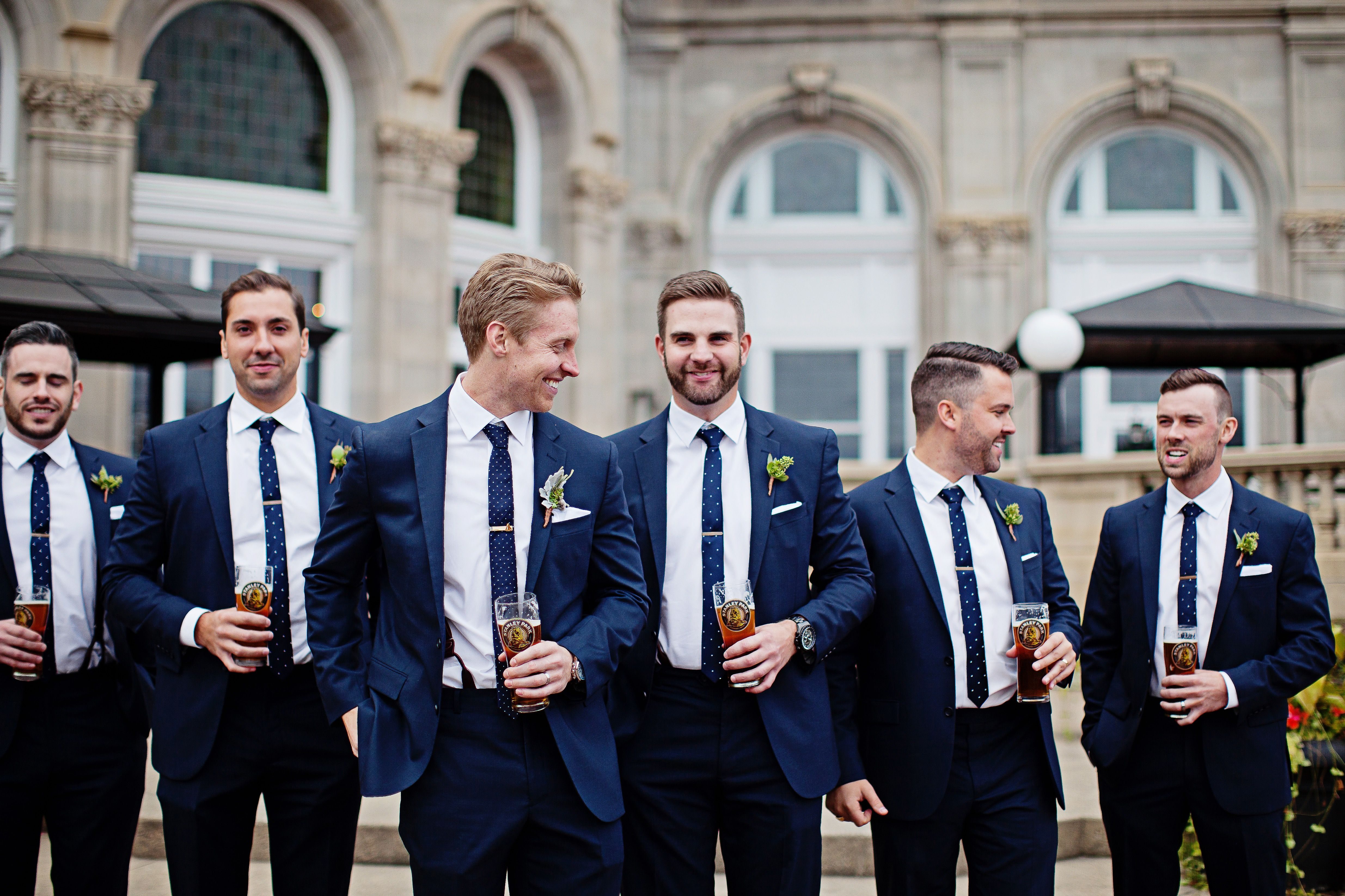 Wedding Party Photography Blush Copper White Navy Suits Fall