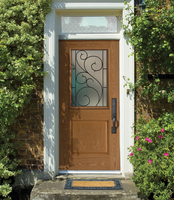 Open Air Hedge Sided Porch With Belleville One Panel Half Lite Exterior Door Featuring Tanglewood Decorative Door Glass Fiberglass Exterior Doors Glass Door