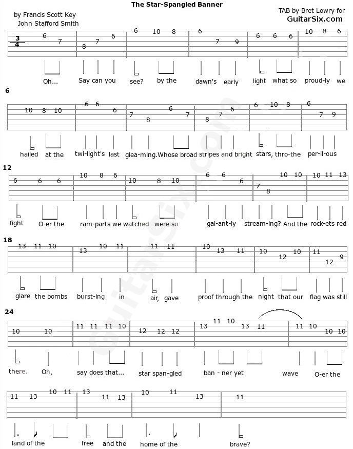 The star spangled banner guitar tab | Guitar tips | Pinterest | Star ...
