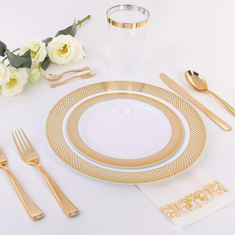Amazon Com 60pcs Heavyweight White With Gold Rim Wedding Party Plastic Plates Dinnerware Sets 30 10 25inch Din Gold Plastic Plates Plastic Ware Plastic Plates White and gold dinner plates