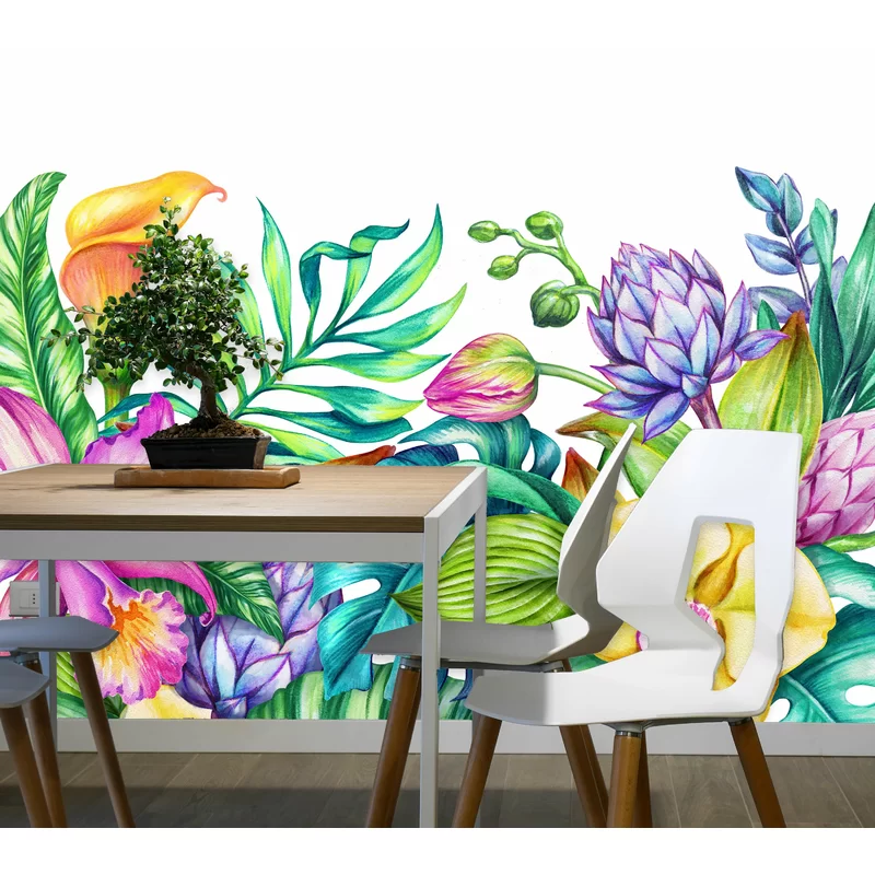 Mchugh Removable Paradise Nature Tropical Flowers Frame Orchid Hibiscus Wall Mural Mural Wallpaper Mural Removable Wallpaper