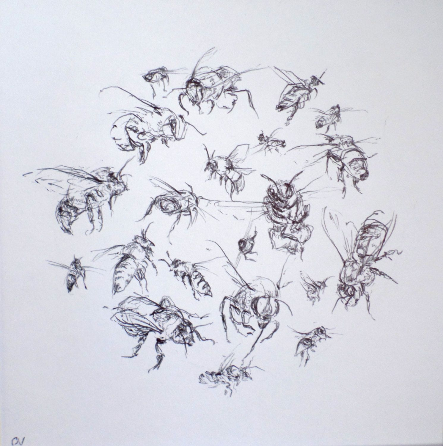 Bee Art Original Honey Bees Bumble Black And White In Flight