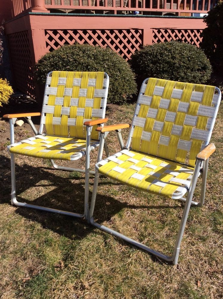 (2) Vintage Yellow U0026 White Webbed Aluminum Folding Lawn Chairs W/Wood Arms
