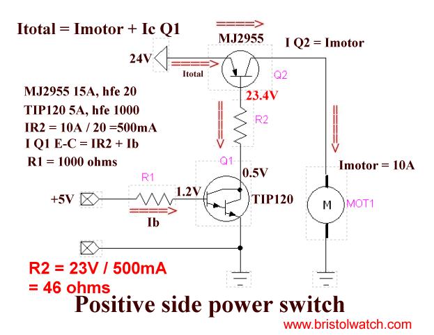 TIP125 Darlington transistor driving a MJ2955    Technology