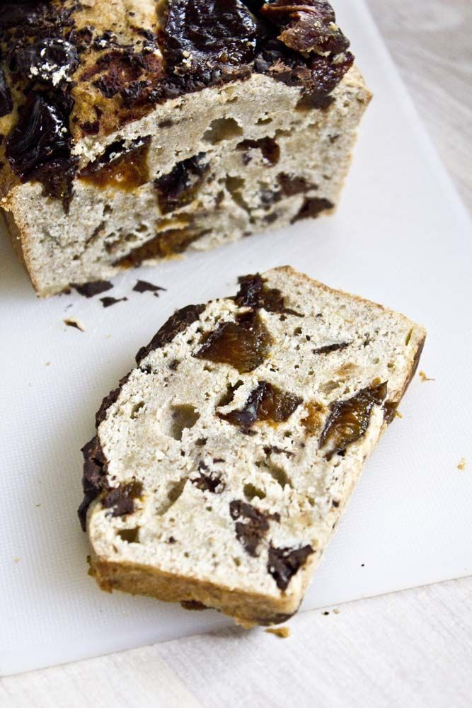 Banana cake with prunes. Perfect for New Year's Day brunch.