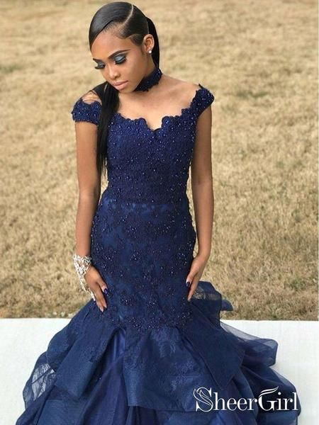 90e02d1a40 Off the Shoulder Mermaid Prom Dresses Navy Blue Beaded Lace Chic Choker Prom  Dress
