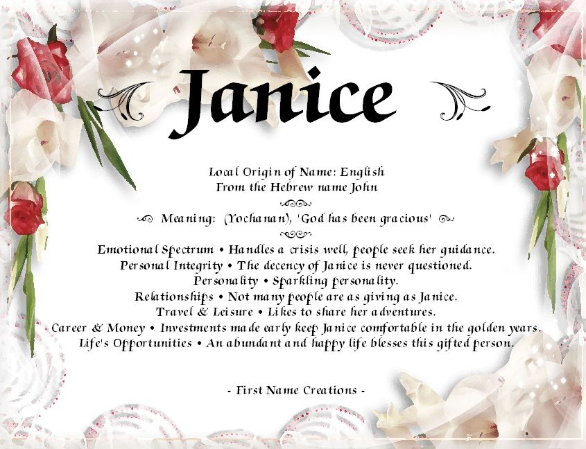 Janice name meaning james and gabbie pinterest paper frames family tree template first name meanings yadclub Images