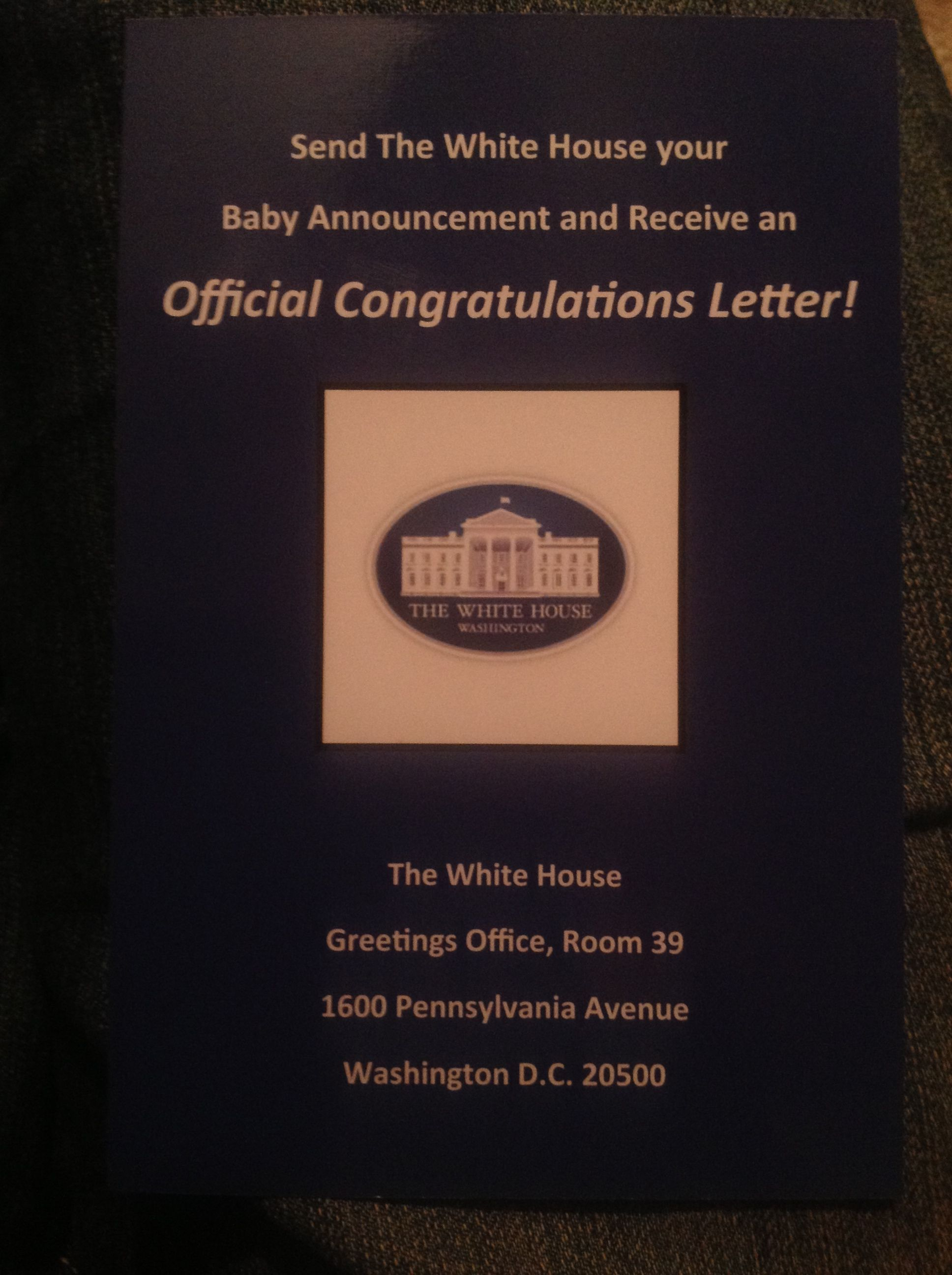 Send The White House A Birth Announcement And They Will Send You A