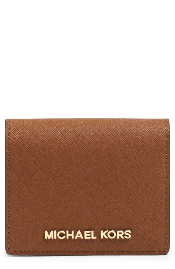 5112a542a4e6 BRAND NEW WITH TAGS MICHAEL KORS JET SET LEATHER TRAVEL FLAP CARD HOLDER  AUTHENTIC MICHAEL KORS