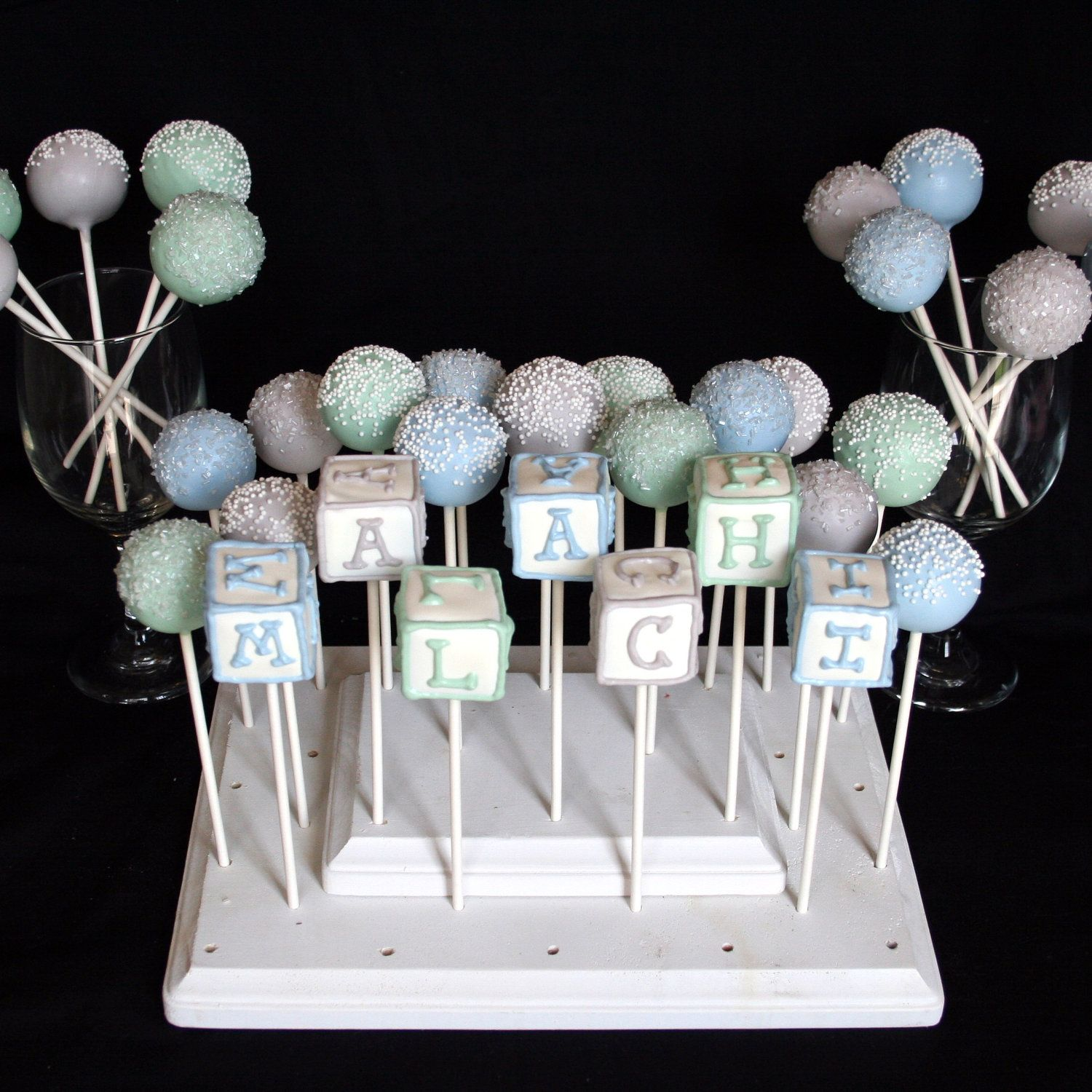 Cake Pop Centerpieces For Baby Shower : 12 Baby Block Cake Pops - personalized name, monogram ...