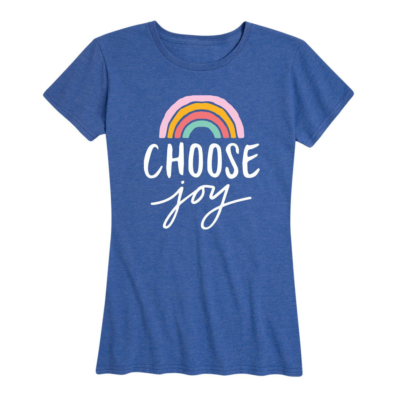 Instant Message Choose Joy Rainbow Women S Short Sleeve Graphic T Shirt Walmart Com In 2020 Choose Joy Retail Fashion Print Pullover