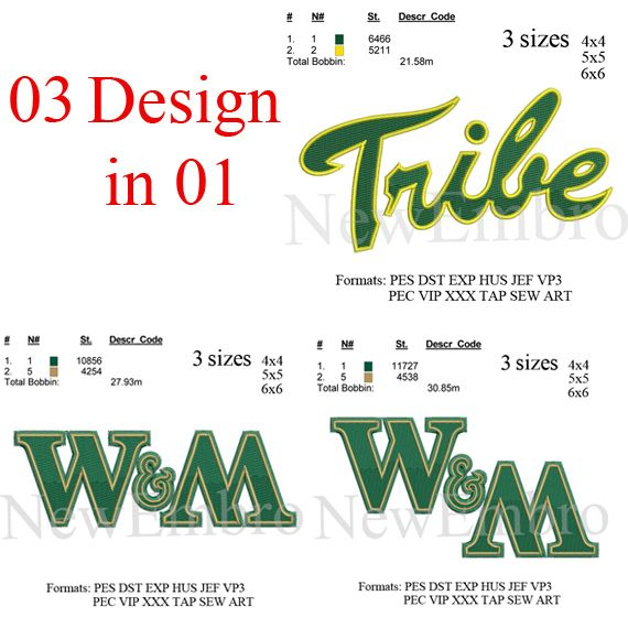 William and Mary logo 3 designs in 1 William&Mary logo embroidery ...