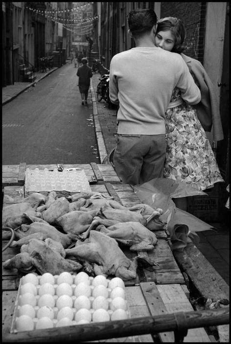 Leonard Freed  NETHERLANDS. 1964. Egg and chicken market stand.