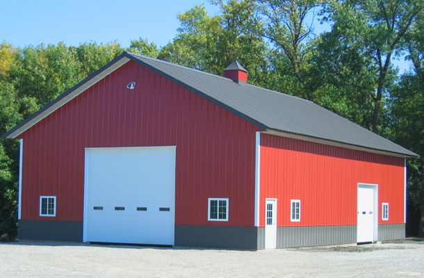 Red metal siding with gray roof metal building exterior i for Red metal barn