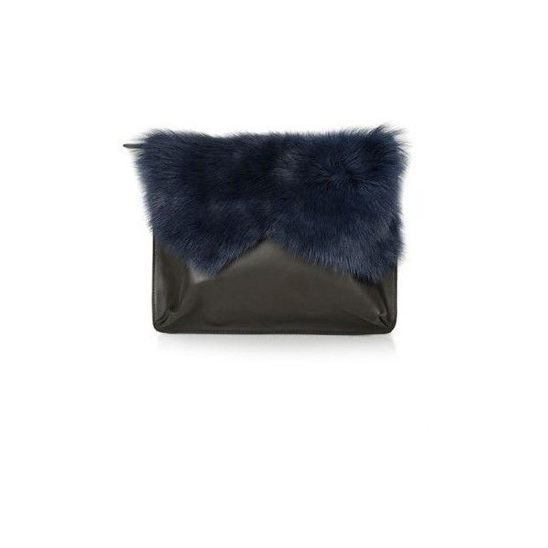 TopShop Shearling Clutch (£50) ❤ liked on Polyvore featuring bags, handbags, clutches, navy blue, shearling handbag, topshop purse, navy blue purse, navy purse and navy handbag
