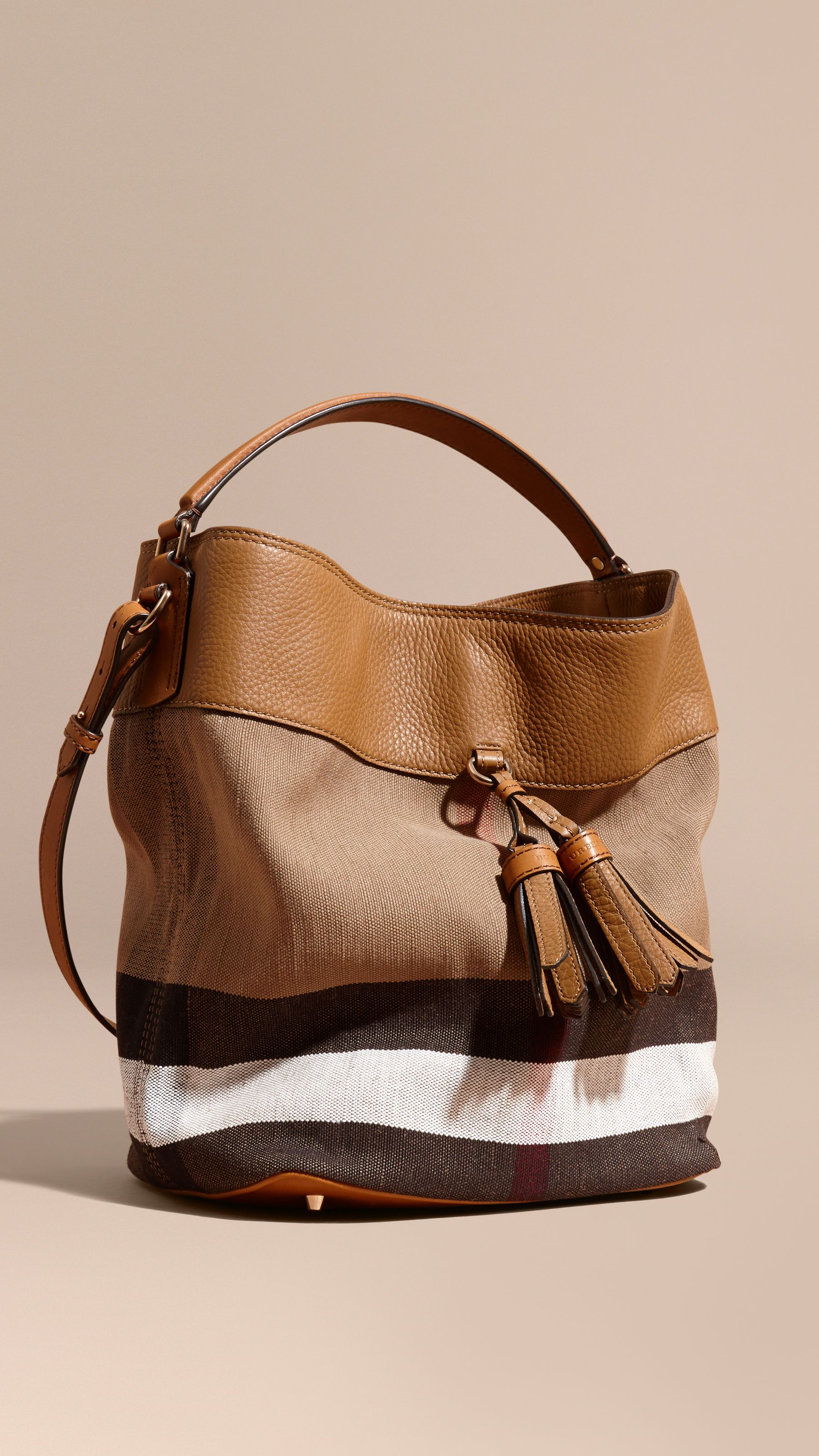 The Medium Ashby in Canvas Check and Leather Saddle Brown   Burberry ... 46039cc529