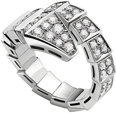 bvlgari serpenti 18ct whitegold and diamond ring on