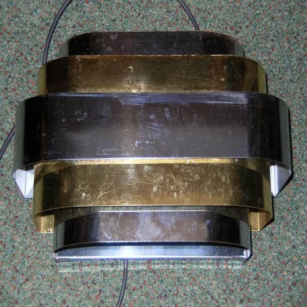 Wonderful set of 4 modernist american wall lights in chrome & brass