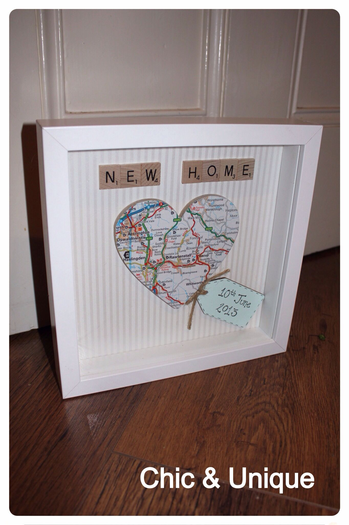 New Home Present Ideas Part - 31: New Home Gift - Decoupaged Map Heart In Box Fram With Scrabble Letters.  Bespoke Designs