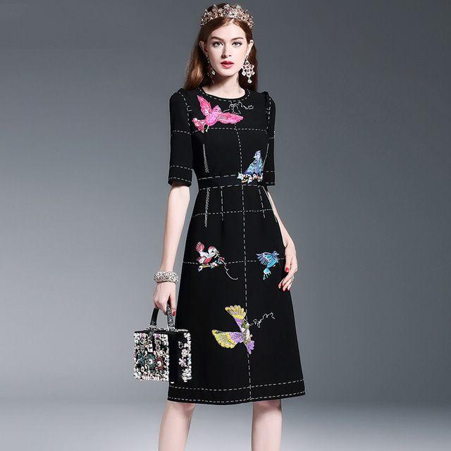 ec2daf06405b3 Black Beautiful Dresses Half Sleeve Summer Women Slim Sequined New ...