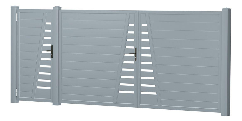 Privacy screen courtyard gate-door combination plastic – silver gray | …